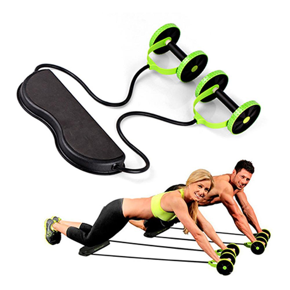 Fitness Roller Pulling Rope Abdominal Muscle Trainer Power Resistance Bands Gym Arm Waist Leg Training Rool