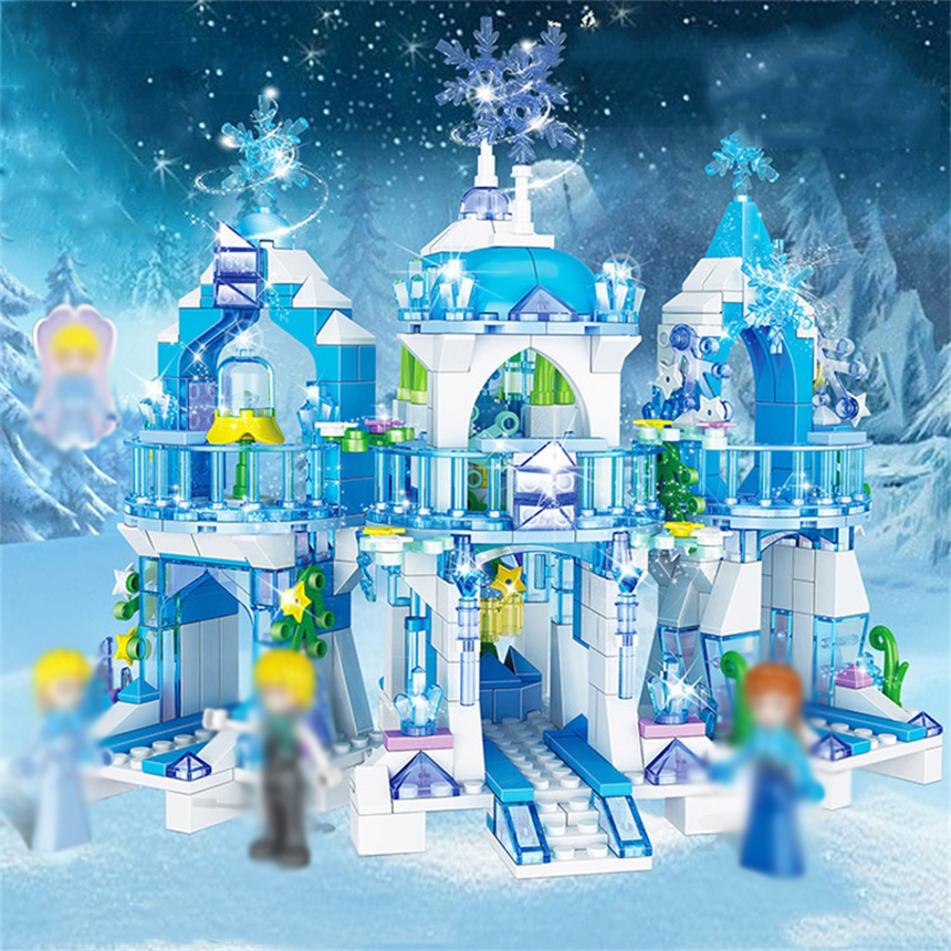 Princess Figures Snow Queen Ice Castle Block Model Bricks Compatible with Girls Friends Stacking Building Blocks Gift image
