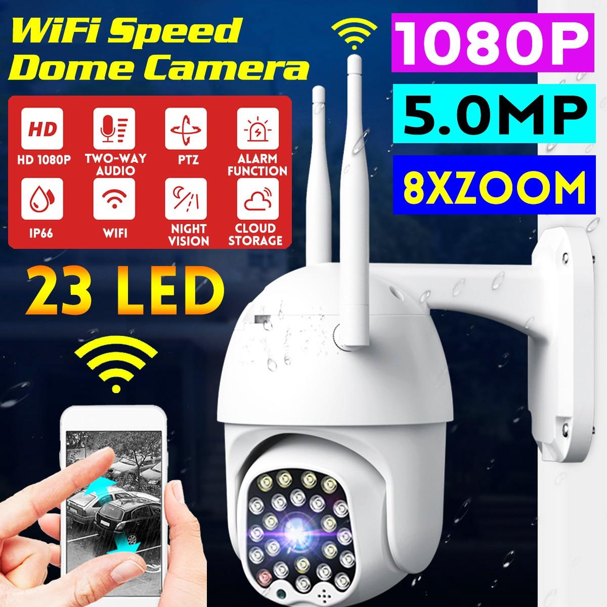 1080 p hd ptz câmera ip wi fi ao ar livre velocidade dome cctv câmera de segurança 8x zoom digital 5mp rede ir câmera de vigilância em casa
