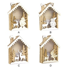 2019 NEW Christmas Tree Decorations Wooden Embellishment Hut With Light Hanging Ornaments Holiday Gift