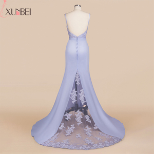 Image 3 - Bridesmaid Dresses Backless Mermaid Lilac Lace Straps Beaded Appliques Wedding Party Gown Robe demoiselle dhonneur