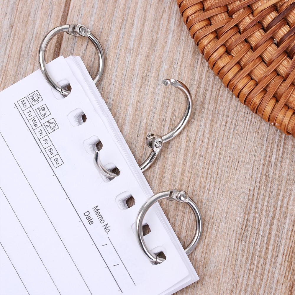 10Pcs/Lot Silver Loose Leaf Binder Hinged Rings Scrapbook Clips Keychain Circle Metal DIY Crafts Calendar Notebook Binder Ring