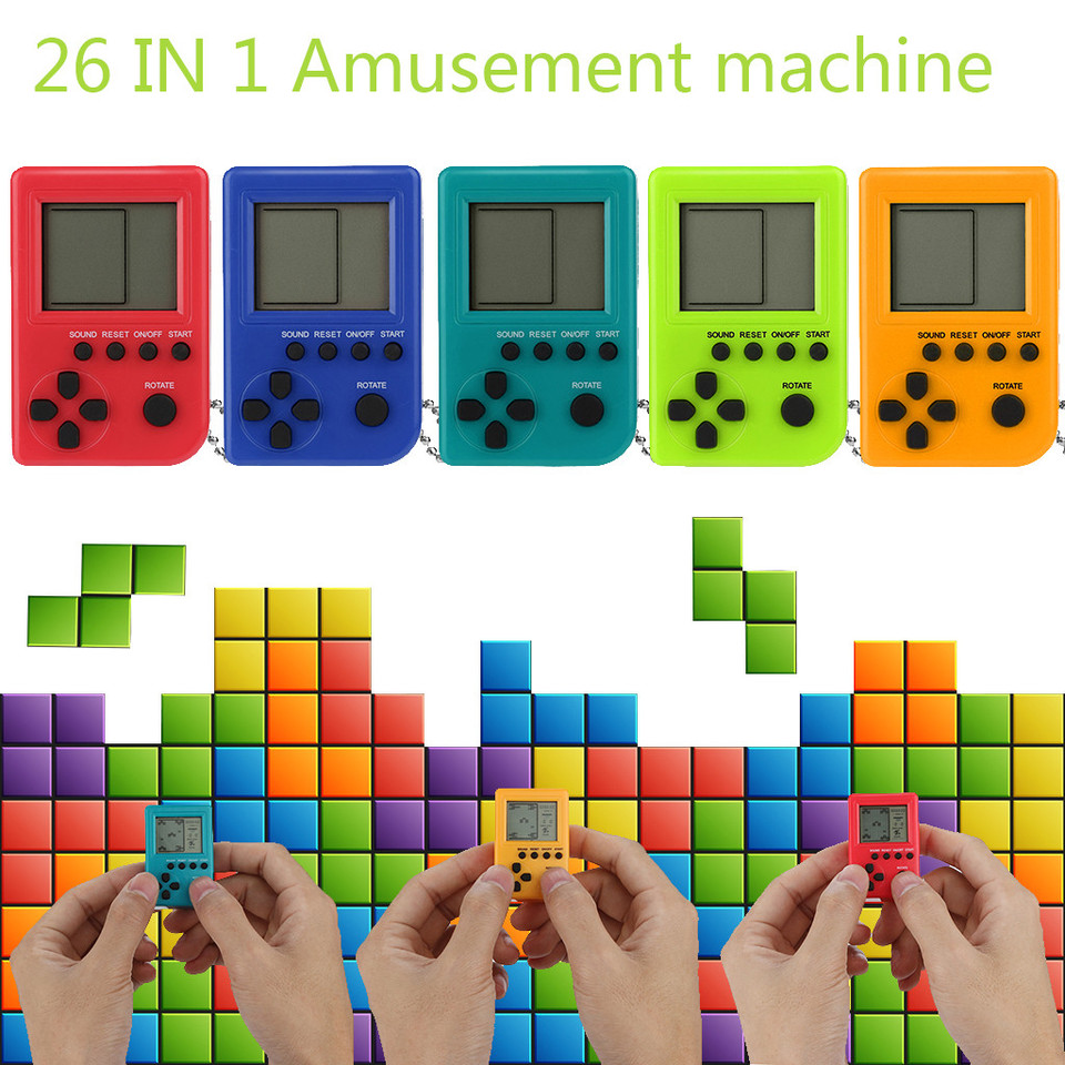 Mini Retro Tetris Game Console Students Pendant Recreational Machines Built In 26 Russian Tetris Games 40jul Handheld Game Players Aliexpress