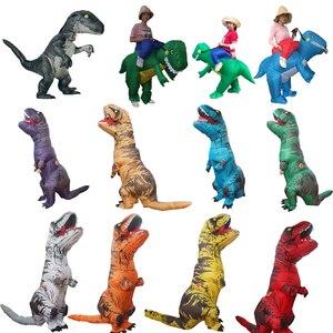 Image 3 - Costume T Rex pour femme et homme adulte, Costume de dinosaure gonflable, Costume de Cosplay Anime, fantaisie dhalloween T Rex, pour enfants, femmes