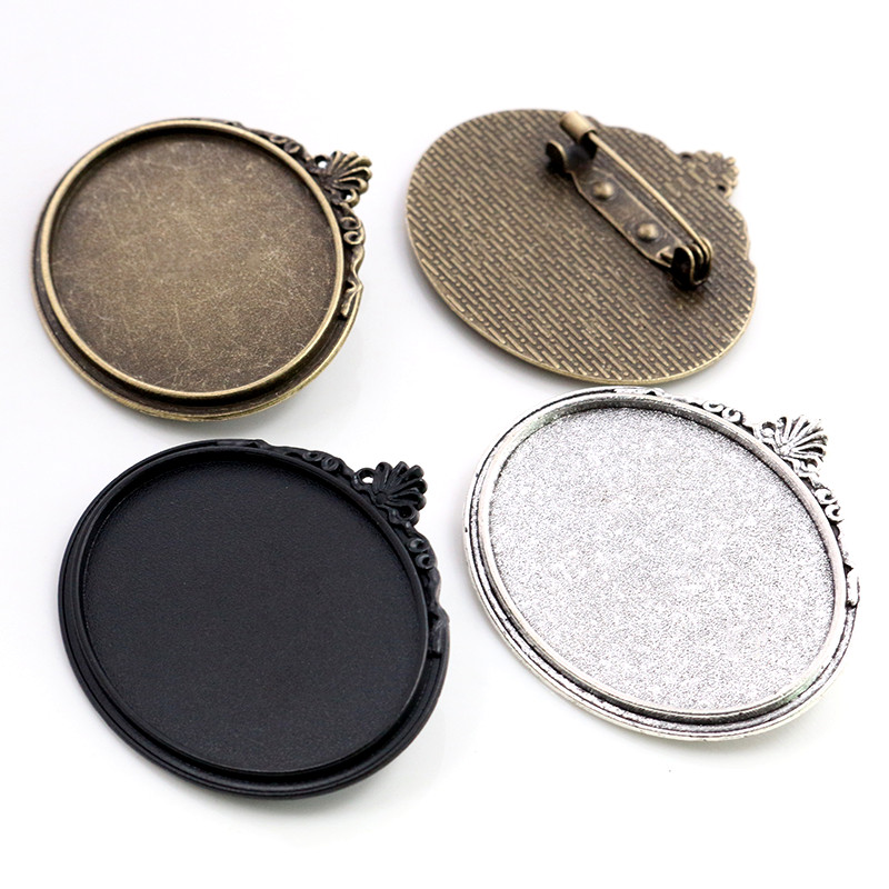 New Fashion 5pcs 30x40mm Inner Size Antique Silver Plated Black Bronze Pin Brooch Flowers Style Base Setting Pendant