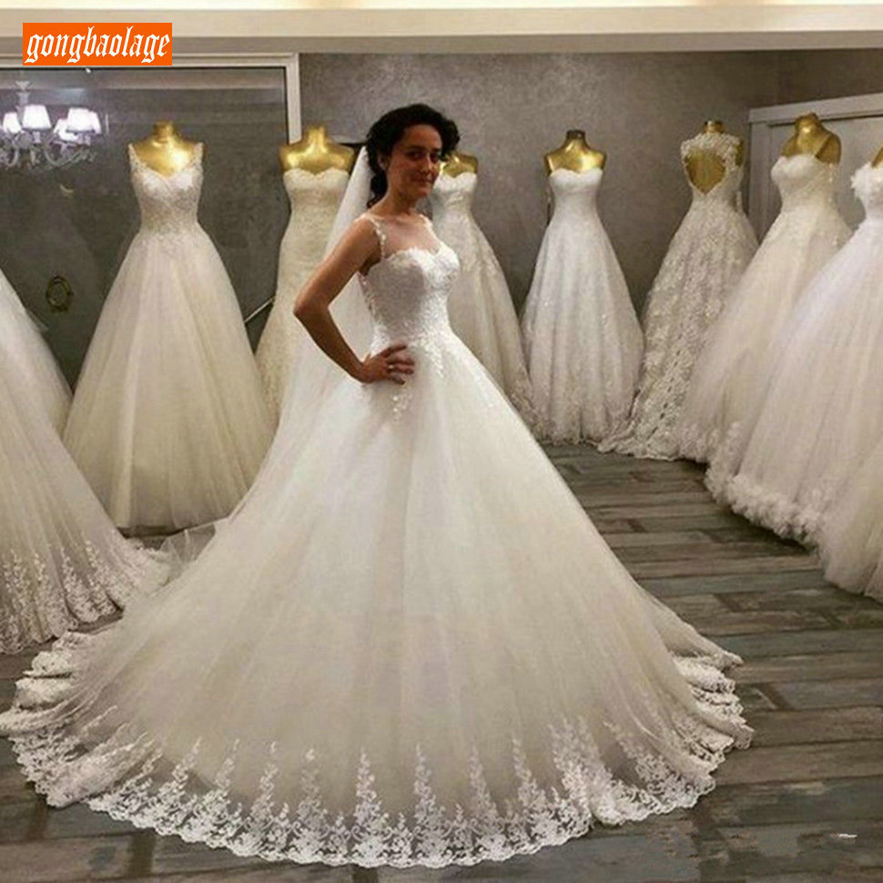 Sumptuous Boho Wedding Dresses Long 2020 Custom Sexy Lace Applique Bride Gowns Sleeveless Tulle Ball Gown Princess Bridal Dress