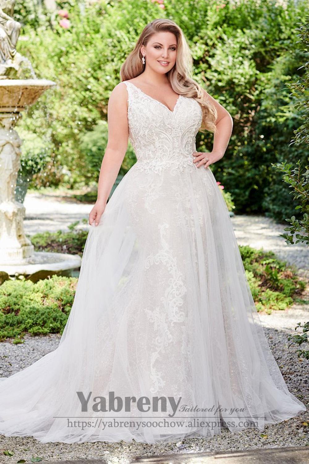 Plus Size Wedding Dress V-neck