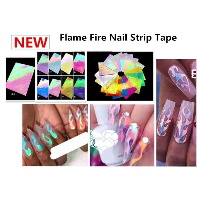 Hot Fire 16pcs/set Nail Holographic Strip Tape Art Stickers Thin Laser Silver Stripe Sticker DIY Foil Decal
