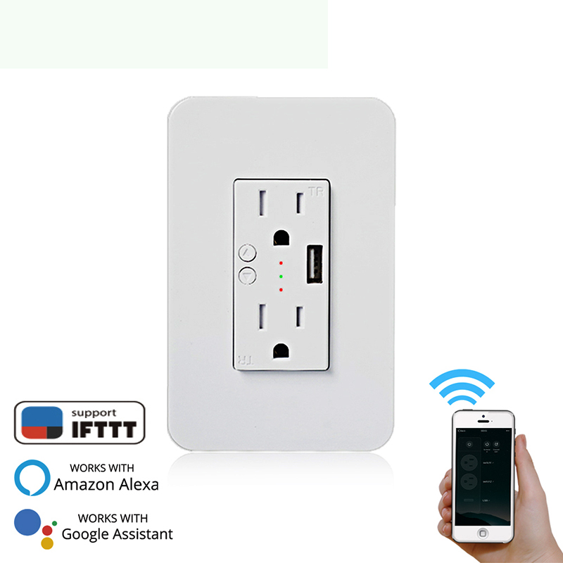 Smart Wall Socket With USB 2 Plug Outlets Work Alexa Google Home/IFTTT No Hub Required By Smart Life/Tuya APP Remote Control