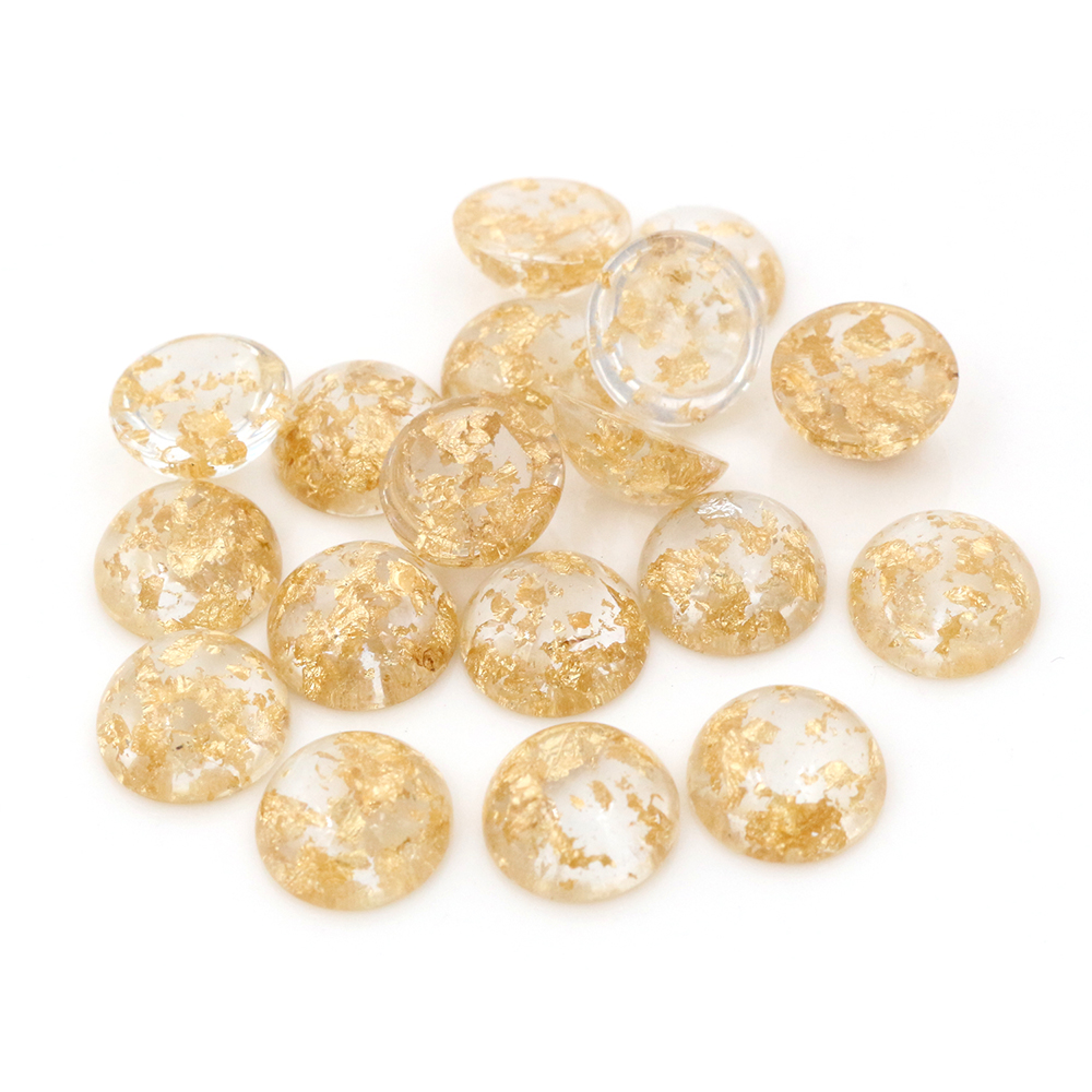 New Fashion 40pcs 8mm 10mm 12mm Transparent Built-in Metal Gold Color Foil Flat Back Resin Cabochons For Diy Jewelry Supplies