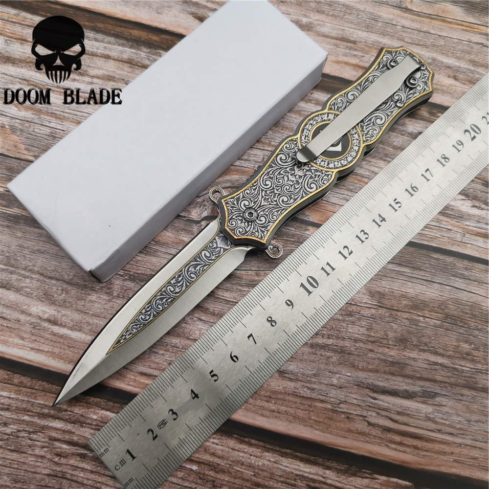 202mm 5CR15MOV Blade Quick Open Knives Tactical Folding Knife Steel Handle Pocket Knives Outdoor Hunting Rescue Knife EDC Tools in Knives from Tools