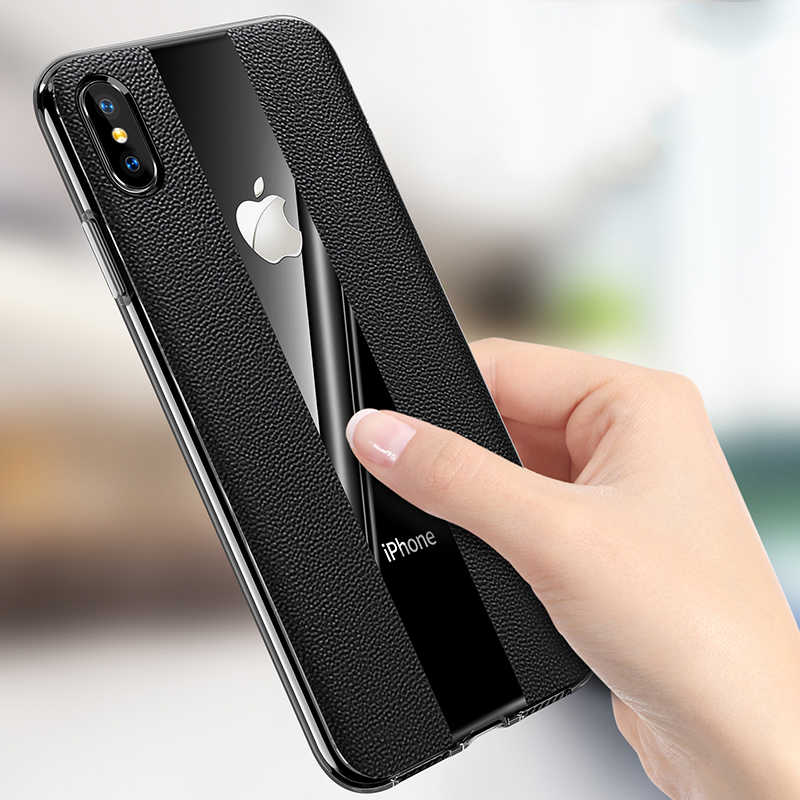 Ultra Thin luxury Phone Cases For iPhone X Cover Leather Skin Soft TPU soft shell Case For iPhone XR XS Max Business case