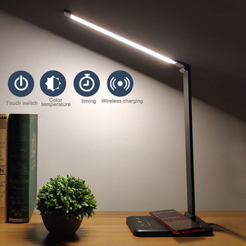 Eye Protect LED Desk Lamp Folding Touching Switch 3/5 Level Dimming USB Reading Table Lamp Wireless Charging For Mobile Charge
