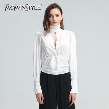 TWOTWINSTYLE Bowknot Lace Up Shirt For Women Turtleneck Lantern Lon Sleeve High Waist Loose Blouse Female 2020 Fashion Clothing lace applique lantern sleeve cold shoulder top