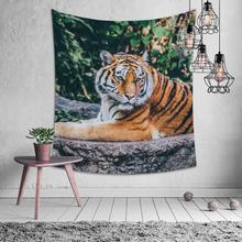 Natural Animal Tiger Tapestry Hippie Mandala Wall Hanging Bedroom Polyester Travel Camping Psychedelic Tablecloth Beach Seat natural animal deer flamingo tapestry hippie mandala wall hanging bedroom polyester travel camping psychedelic tablecloth