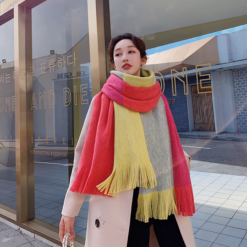 New Style Autumn & Winter Scarf Women's Winter Korean-style Versatile Long Thick Warm Women's Faux Cashmere Couples Scarf