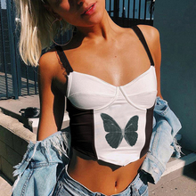 Corset Bustier Tops Women Clothes Bralette Sexy Crop Butterfly Print Vest Outfits Camis