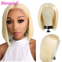613 Blonde Lace Front Wigs Short Bob Wigs Brazilian Remy Straight Preplucked Human Hair Wigs Transparent Lace Frontal Wigs