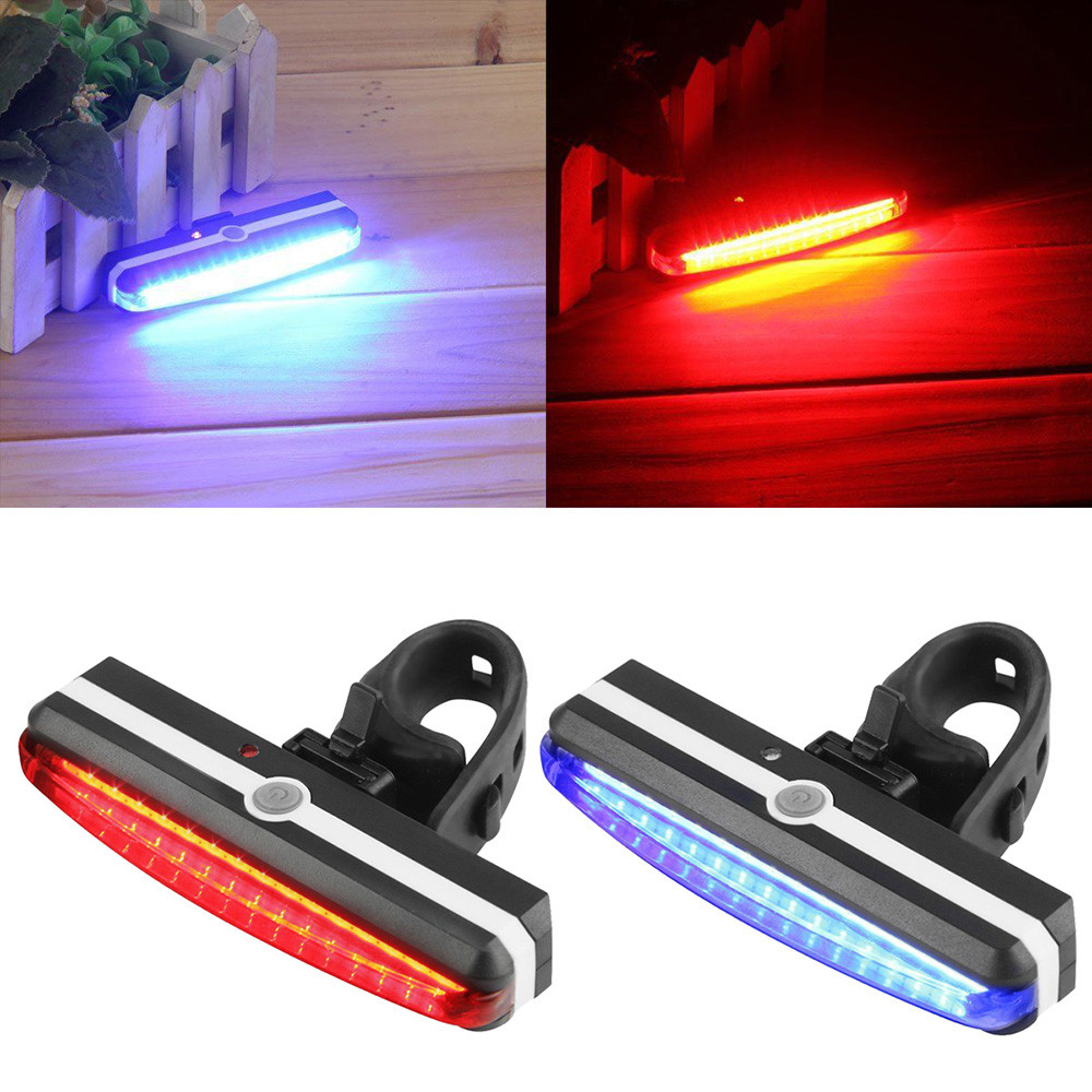 USB Rechargeable LED Cycling Front Rear Tail Light Headlight Lamp For Strobe Warning Lamp Night Riding Safety Bike Bicycle