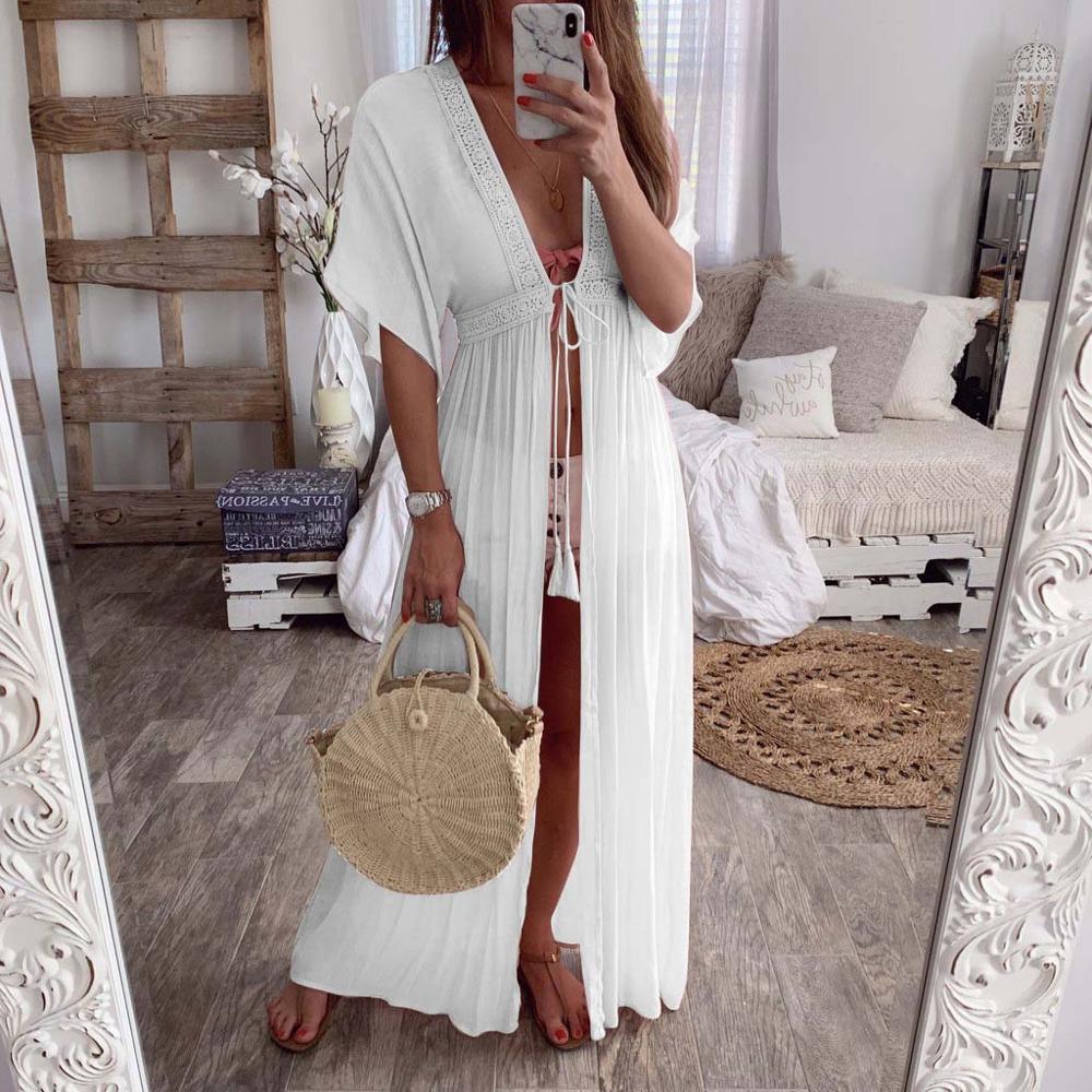 Vestido Verano Mujer Casual Vintage White Lace Maxi Dress Robe Longue Plus Size Cotton Ropa De Kleider Damen Beach Dresses
