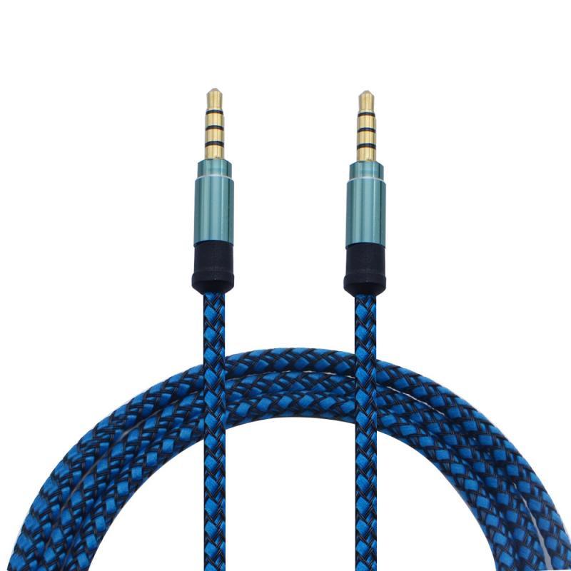 3.5MM 1.5 M voiture mâle à mâle son stéréo câble de données Audio pour MP3 Smartphone Nylon AUX paire enregistrement voiture Audio câble Audio