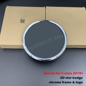 Image 3 - 3D yıldız ayna rozeti Logo Mercedes Benz için W205 C180 C260 C200 C300 C400 2019 2020 araba ön izgara amblem krom parlak siyah