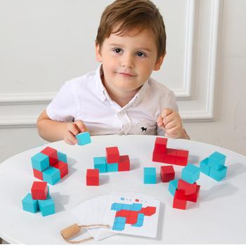 Dzieci magiczne drewniane bloczki zabawki kostki bloki przestrzeń logiczne myślenie szkolenie wczesna edukacja drewno gra łamigłówki zabawka tanie i dobre opinie CN (pochodzenie) Do not put in mouth Drewna 5-7 lat 2-4 lat Wooden Cube Blocks