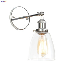 IWHD Loft Industrial LED Wall Light Fixtures bedroom Mirror Stair Silver Metal Glass Antique Wall Lamp Vintage Lampara Pared LED iwhd vintage glass lampara pared creativeretro iron loft wall lamp black bedroom lighting stairs beside reading light fixture
