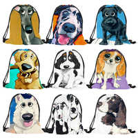 Lovely Black Dog expression Prints boys girls Drawstring Backpack eco Polyester reusable Casual school class shoulder bags