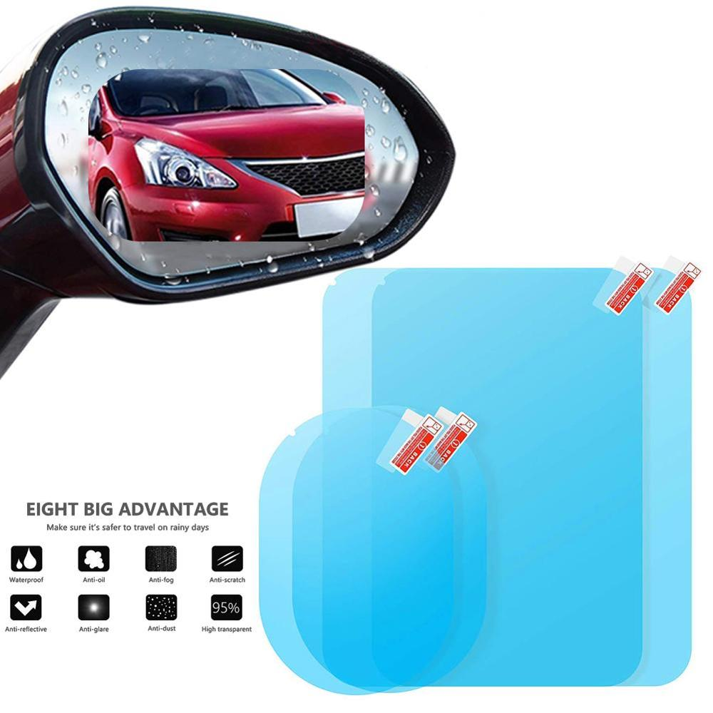 Car Mirror Window Clear Film Anti Fog Film Protective Window Clear Rainproof Sticker Rear View Waterproof Car Sticker 2 Pcs/Set