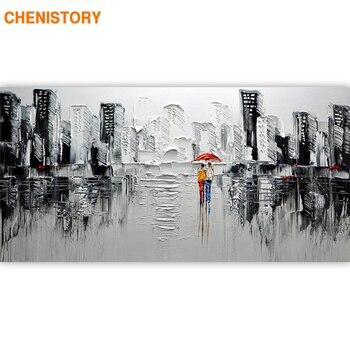 CHENISTORY Rahmen Abstrakte Moderne Stadt DIY Malerei Durch Zahlen Acrylfarbe Auf Leinwand Wand Kunst Bild Für Wohnzimmer 60x120cm
