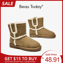 Beautoday Wol Snowboots Vrouwen Wol Enkellaarsjes Koe Suede Leather Slip-On Winter Warm Fur Lady Schoenen Handgemaakte 08024