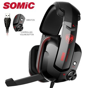 Somic G909 Gamer Headset Virtual 7.1 Stereo Wired Gaming Headphones Vibration Earphone headphone with Microphone for PC Computer 1