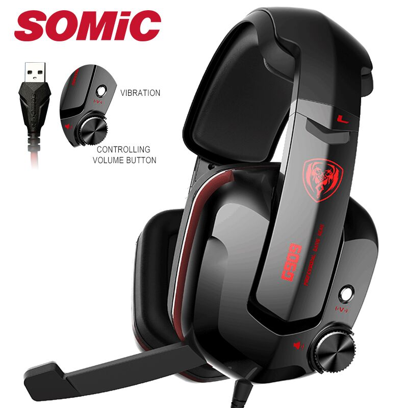 Somic G909 Gamer Headset Virtual 7.1 Stereo Wired Gaming Headphones Vibration Earphone headphone with Microphone for PC Computer|Headphone/Headset|   - AliExpress