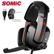 Somic G909 Gamer Headset Virtual 7.1 Stereo Wired Gaming Headphones Vibration Earphone headphone with Microphone for PC Computer