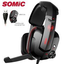 Игровая Гарнитура Somic G909 Virtual 7,1, проводные игровые стереонаушники с вибрацией, наушники с микрофоном для ПК и компьютера