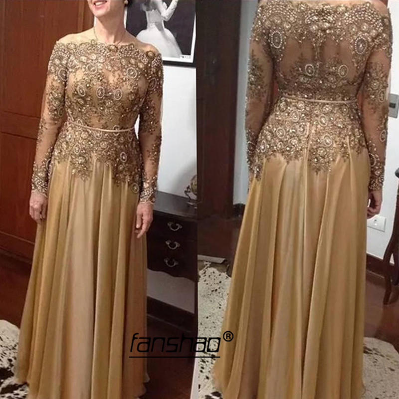 Gold Evening Dress Boat Neck Applique Illusion Special Occasion Party Dress Islamic Dubai Saudi Arabic Evening Gown Prom Dress