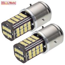 Bombilla LED BA21D 56 SMD 2835 para motocicleta, faro alto y bajo, para coche, moto, ciclomotor, lámpara blanca, 6000K, 6V, 12V, CC, 2 uds.