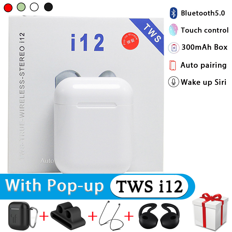 i12 TWS Original True Wireless Bluetooth Earphone Auto Pairing Sport Earbuds With Accessories For i7s i10