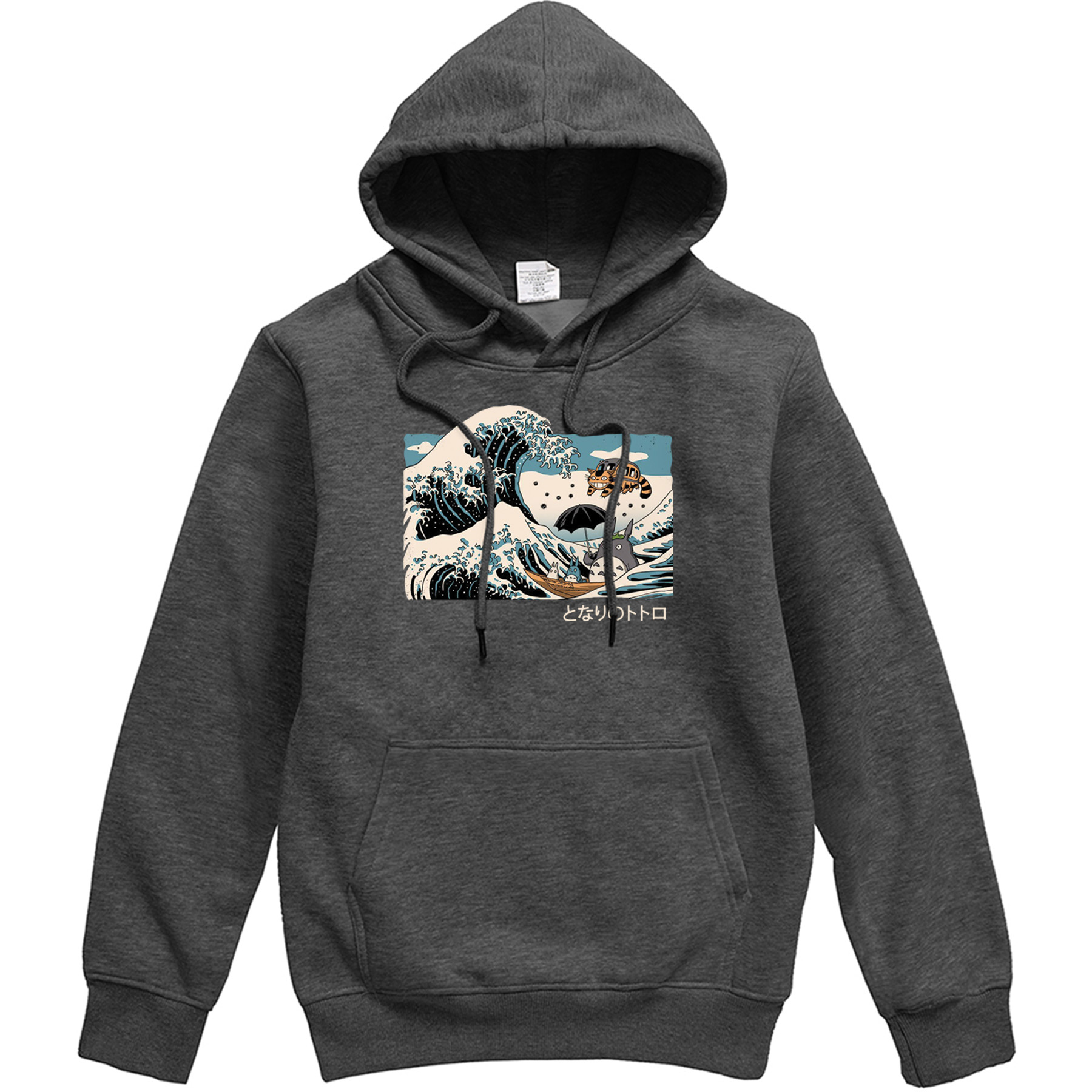Japan Anime Mens Hoodie The Great Wave Totoro Landscape Pattern Mens Pullover Casual Sportswear Men Hip Hop Harajuku Streetwear