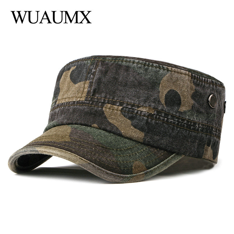 Wuaumx Vintage Camouflage Military Hats For Men Women Spring Summer Flat Top Baseball Caps Washed Outdoor Sailor Patrol Army Cap