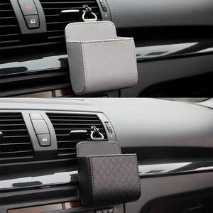 Image 4 - Auto Vent Outlet Vuilnis Doos PU Lederen Auto Mobiele Telefoon Houder Opbergtas Organizer Auto Opknoping Box Auto Styling 3 kleuren