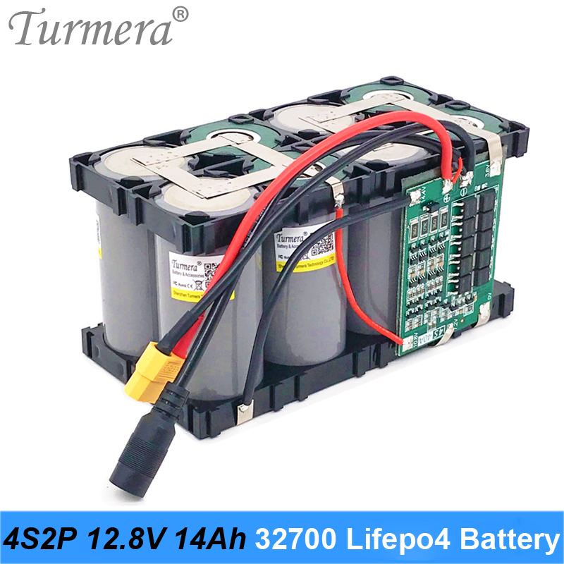Turmera <font><b>32700</b></font> Lifepo4 <font><b>Battery</b></font> <font><b>Pack</b></font> 4S2P 12.8V 14Ah with 4S 40A Balanced BMS for Electric Boat and Uninterrupted Power Supply 12V image