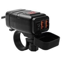 LMoDri motosiklet araç üstü şarj cihazı için su geçirmez çift QC 3.0 hızlı şarj 12V telefon şarj voltmetre anahtarı adaptörü