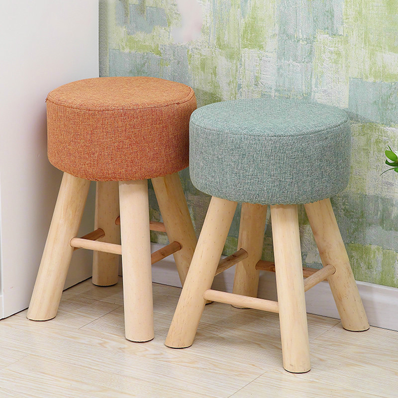 Simpele Houten Stoel.Stof Grenen Krukken Mode Sofa Kruk Moderne Eenvoudige Houten Ronde