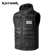 Jacket Cycling-Vest Hood Kutook Sleeveless Waterproof Winter Outdoor Ski Men Cotton Detachable