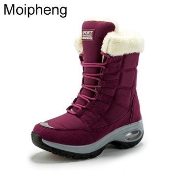 Moipheng Women Boots Winter Keep Warm Quality Mid-Calf Snow Boots Ladies Lace-up Comfortable Waterproof Booties Chaussures Femme 1