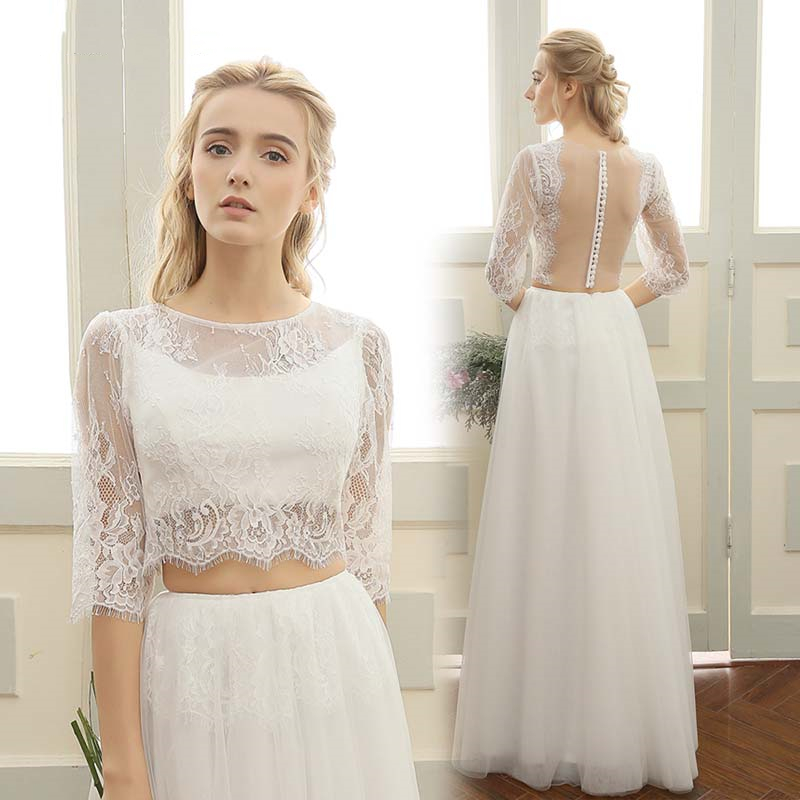 Two Pieces Wedding Dress Lace Top Half Sleeve Illusion Back Tulle Skirt Floor Length Simple Bridal Gown Robe De Mariee Cheap