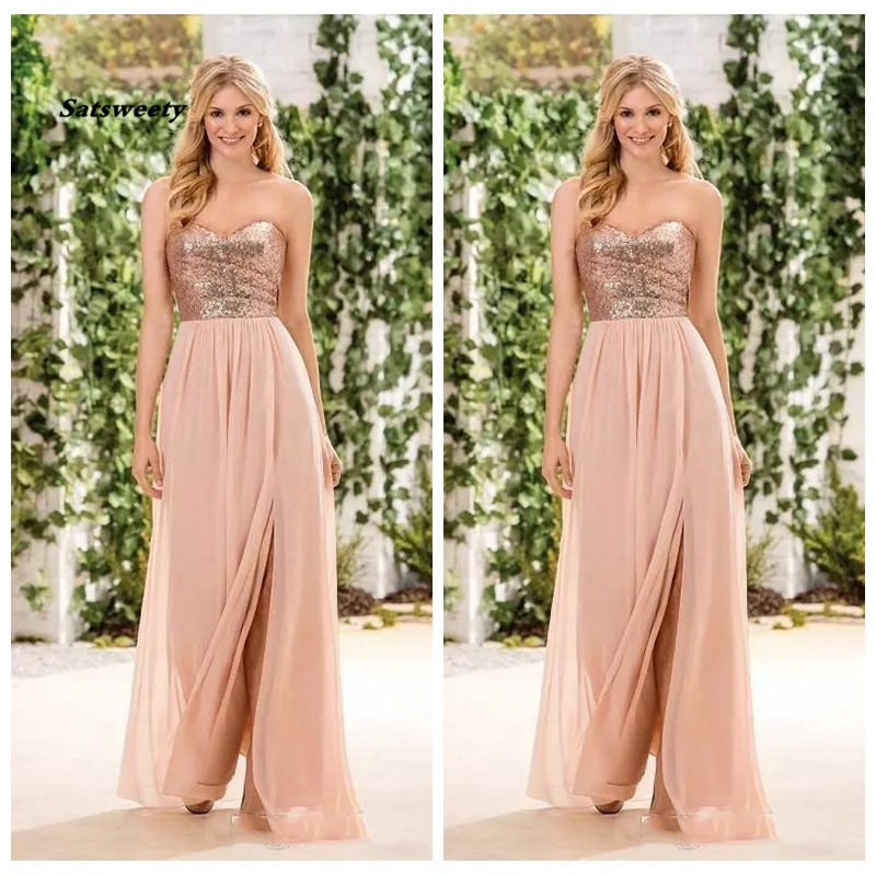 2020 Sweetheart Rose Gold Sequin Long Bridesmaid Dresses Sweetheart Split A Line Custom Maid Of Honor Gowns Cheap