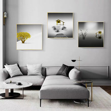Abstract Seaside House and Tree Canvas Painting Modern Pop Wall Art Poster Bedroom Living Room Wall Decoration Mural(No Frame)